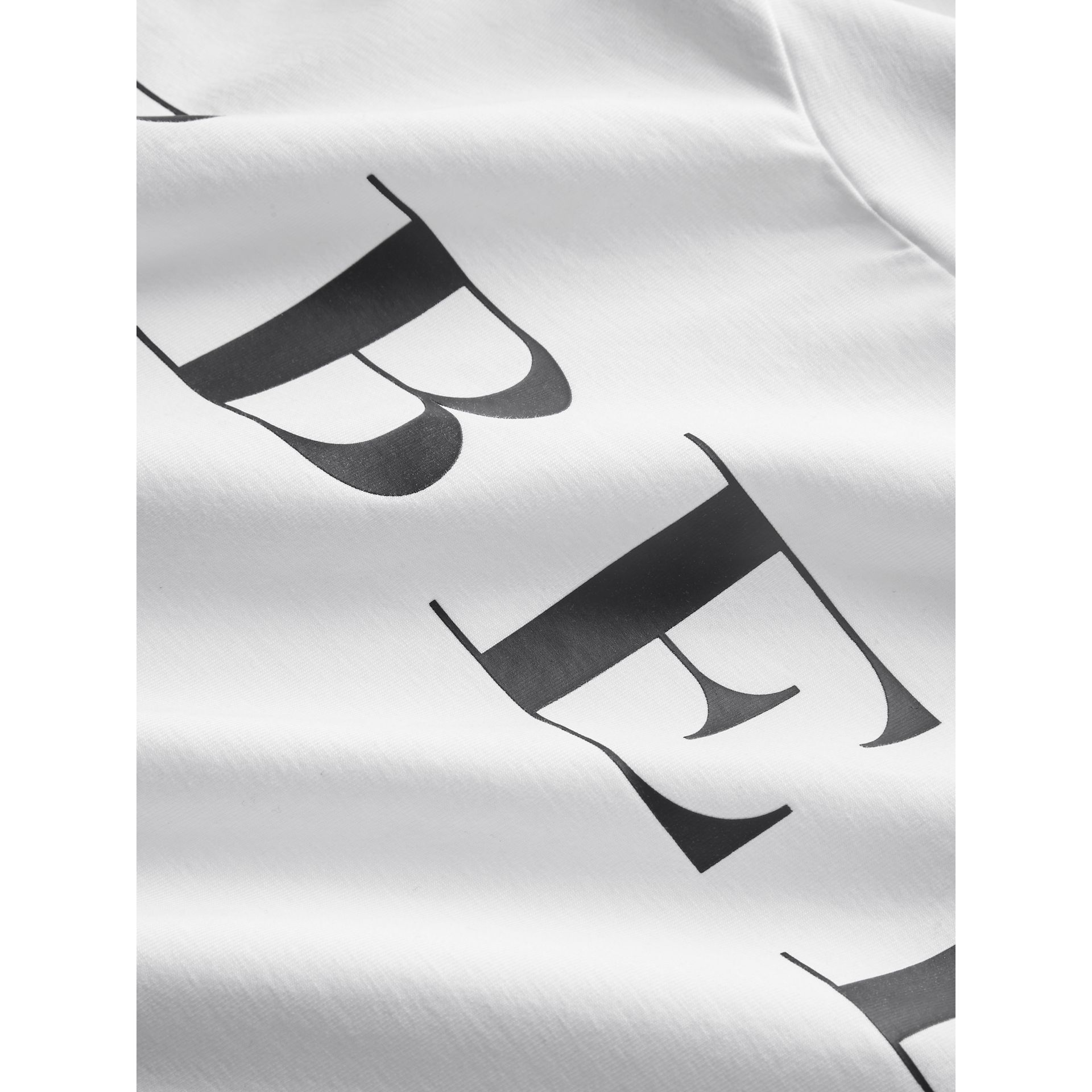 Logo Print Stretch Cotton Roll-neck Top in White | Burberry - gallery image 1