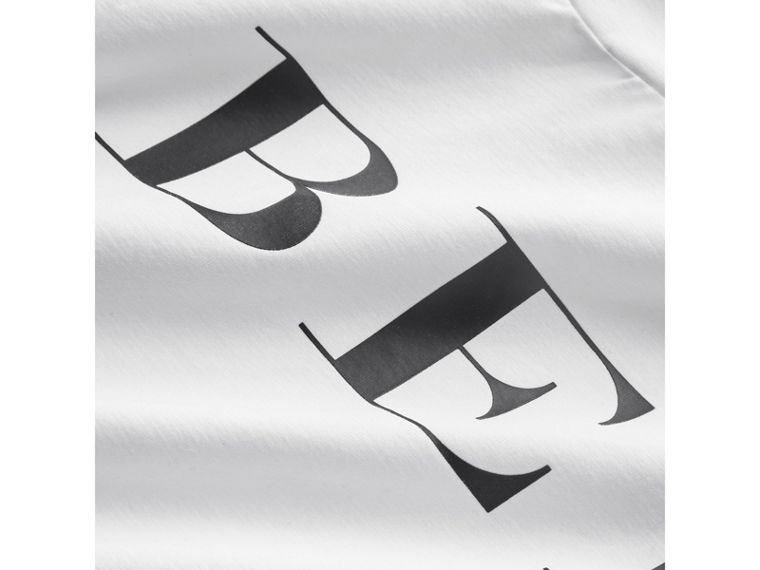 Logo Print Stretch Cotton Roll-neck Top in White - Boy | Burberry Hong Kong - cell image 1