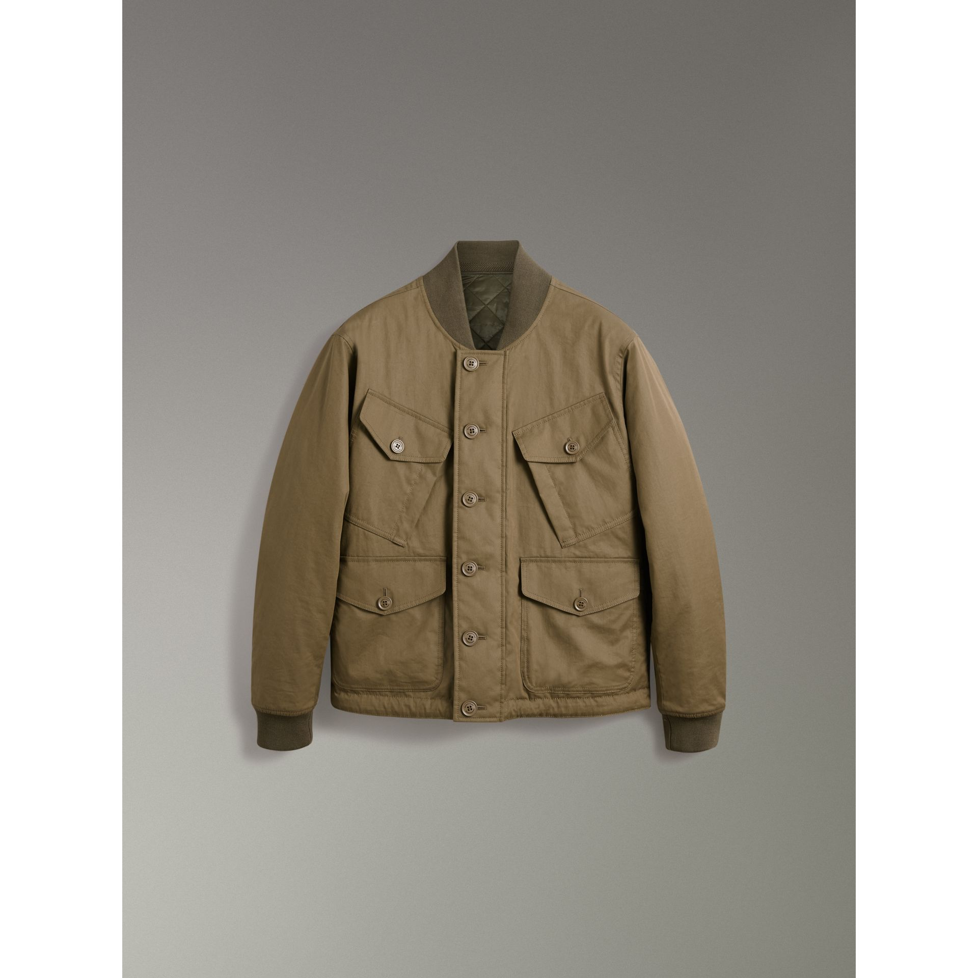 Reversible Quilted Bomber Jacket in Military Khaki - Men | Burberry United Kingdom - gallery image 3