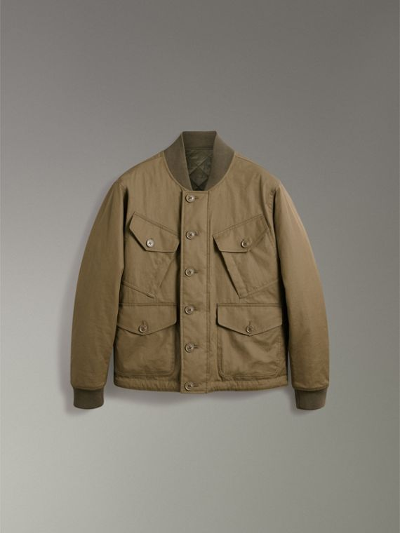 Reversible Quilted Bomber Jacket in Military Khaki - Men | Burberry Hong Kong - cell image 3