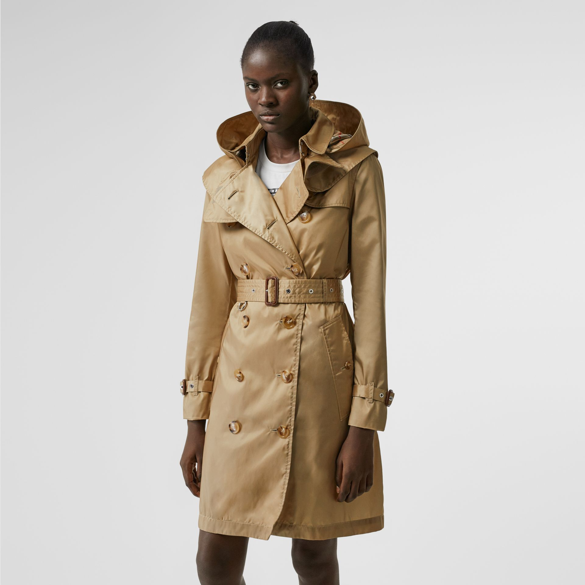 Detachable Hood ECONYL® Trench Coat in Honey - Women | Burberry - gallery image 6