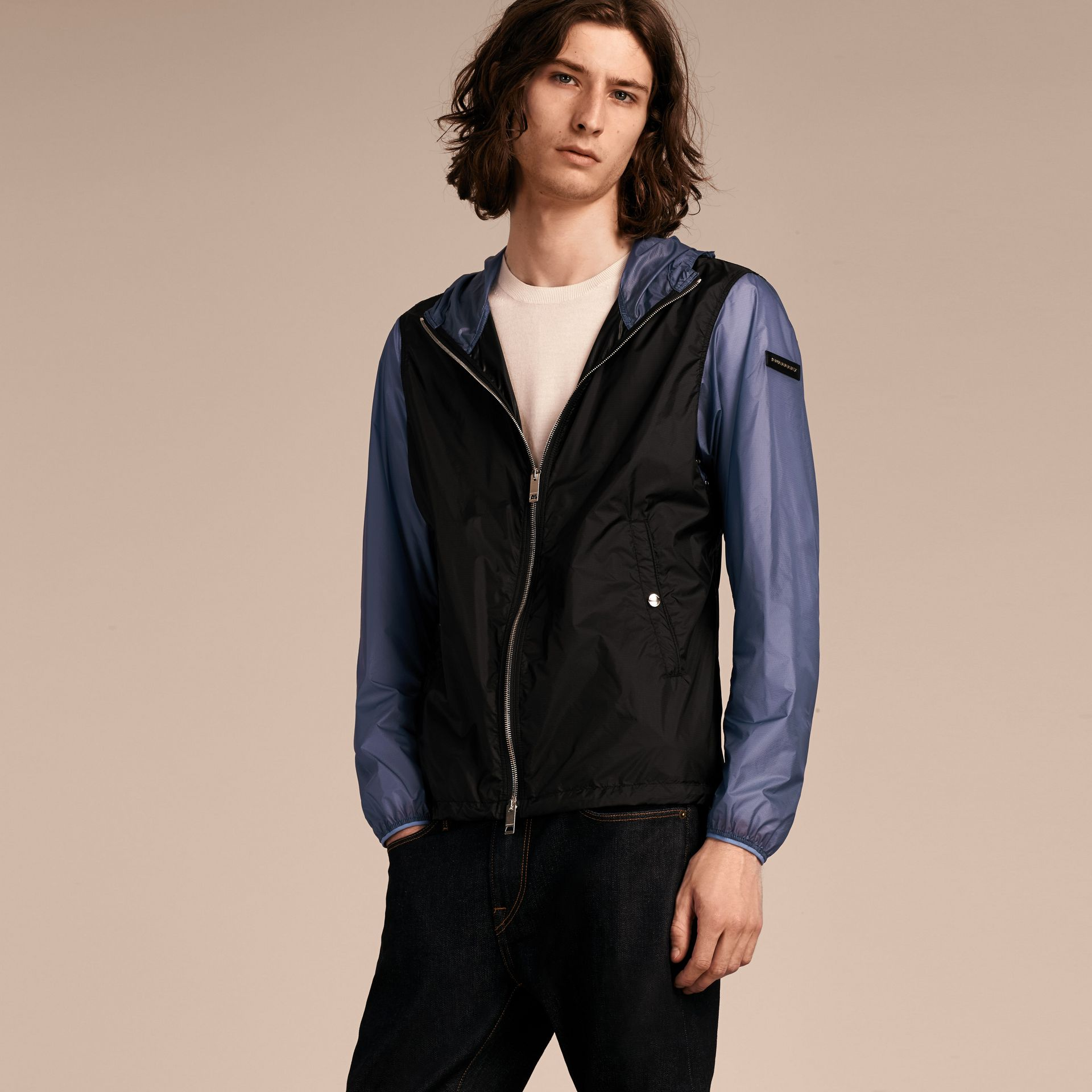 Dark navy Ultra-lightweight Two-tone Jacket with Hood - gallery image 6