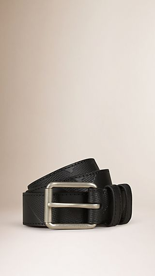 Check-Embossed Leather Belt