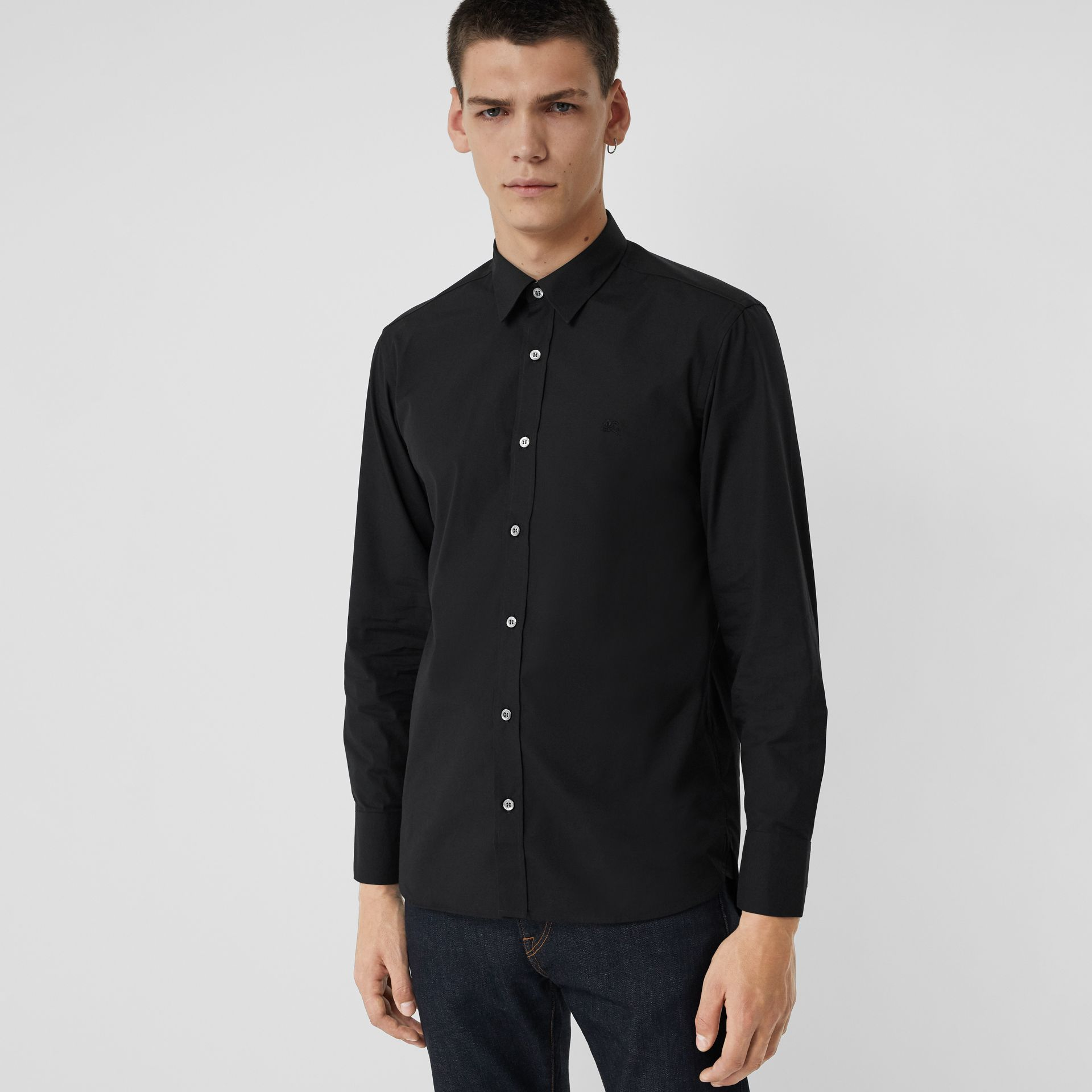 Check Cuff Stretch Cotton Poplin Shirt in Black - Men | Burberry - gallery image 0