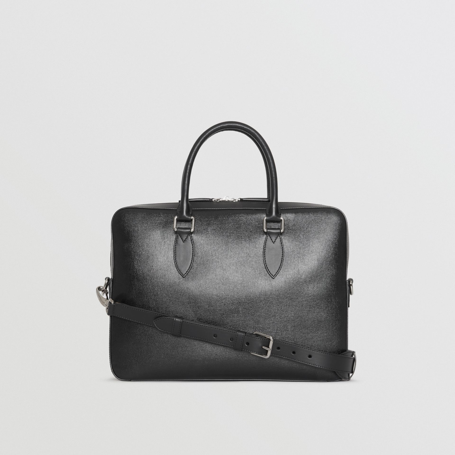 London Leather Briefcase in Black - Men | Burberry - gallery image 7