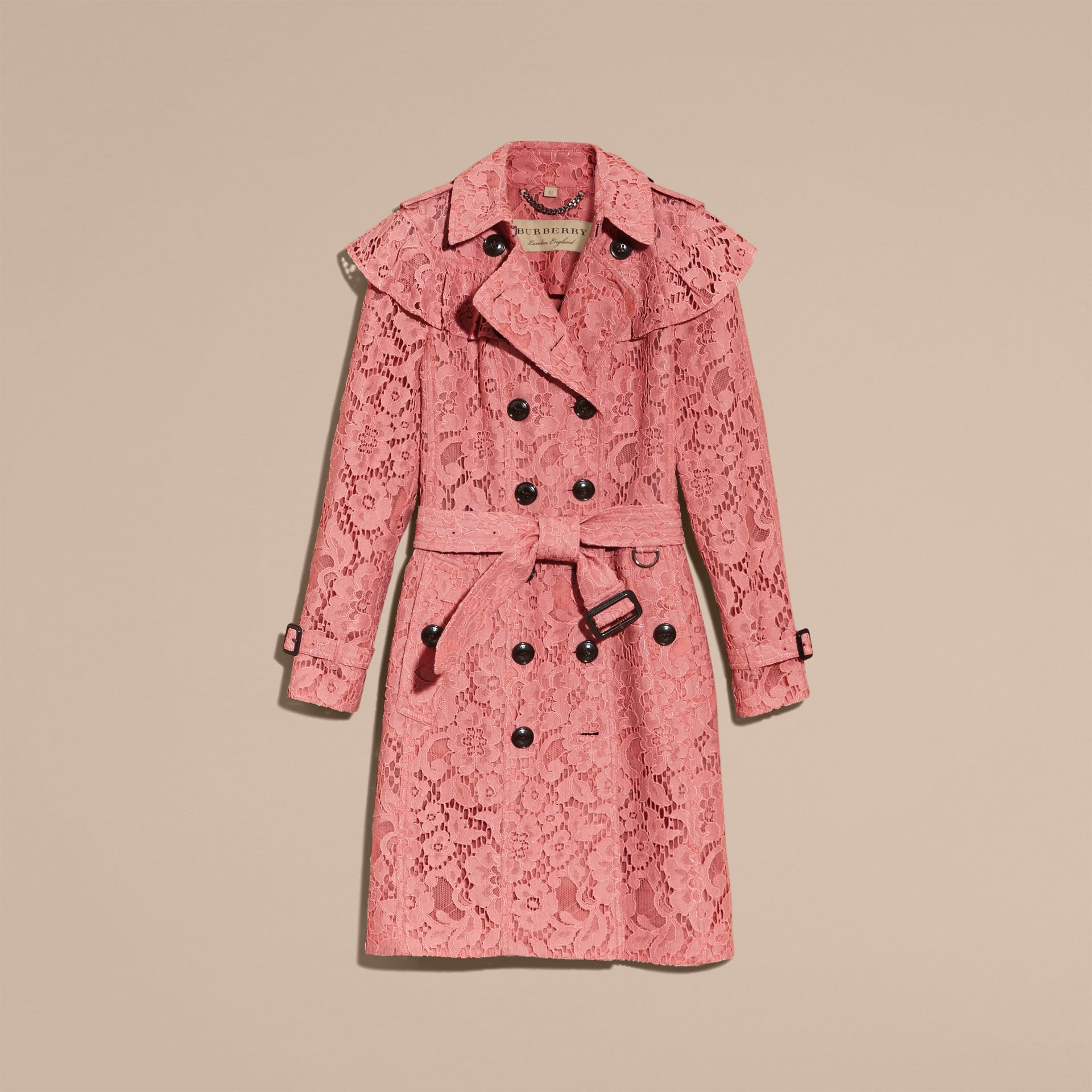 Ruffle Detail Macramé Lace Trench Coat Antique Rose - gallery image 4