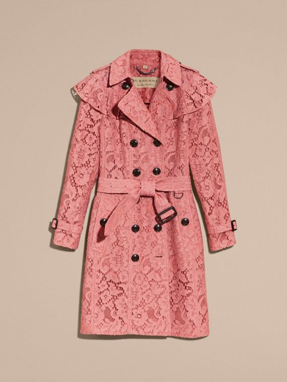 Ruffle Detail Macramé Lace Trench Coat Antique Rose - cell image 3