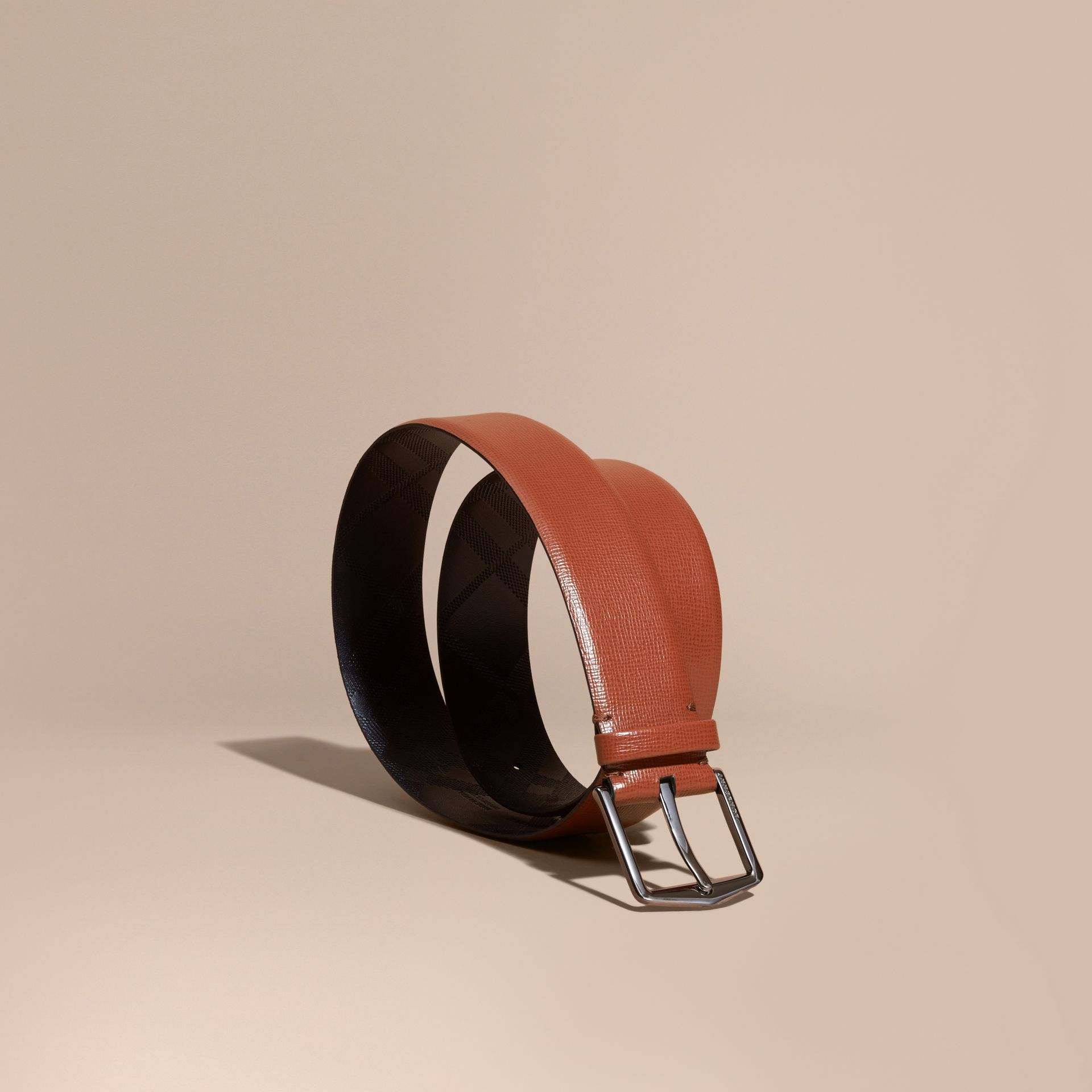 London Leather Belt with Check Detail Burnt Sienna - gallery image 1