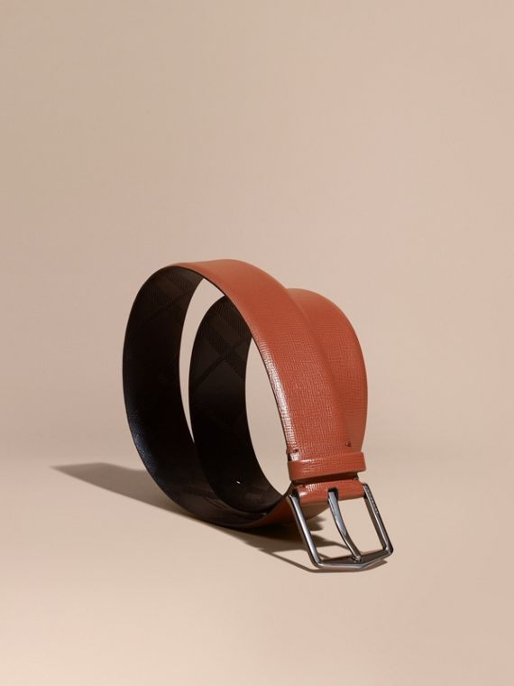 London Leather Belt with Check Detail Burnt Sienna