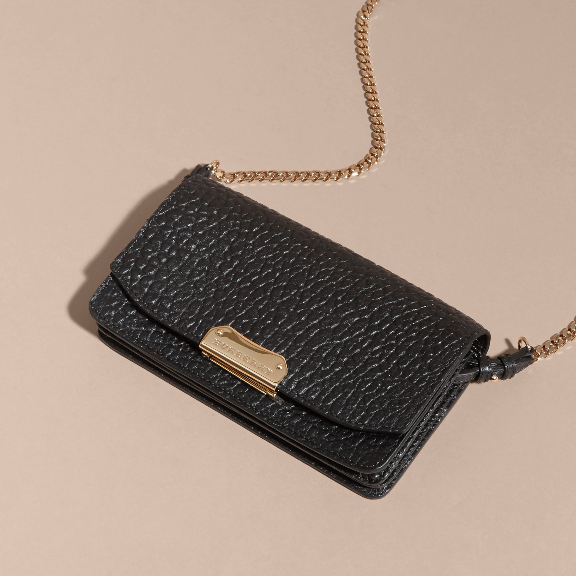 Black Small Signature Grain Leather Clutch Bag with Chain - gallery image 8
