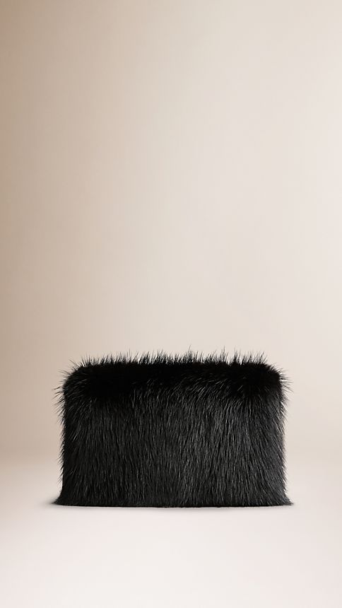 Black Chain-Detail Mink Box Clutch - Image 3