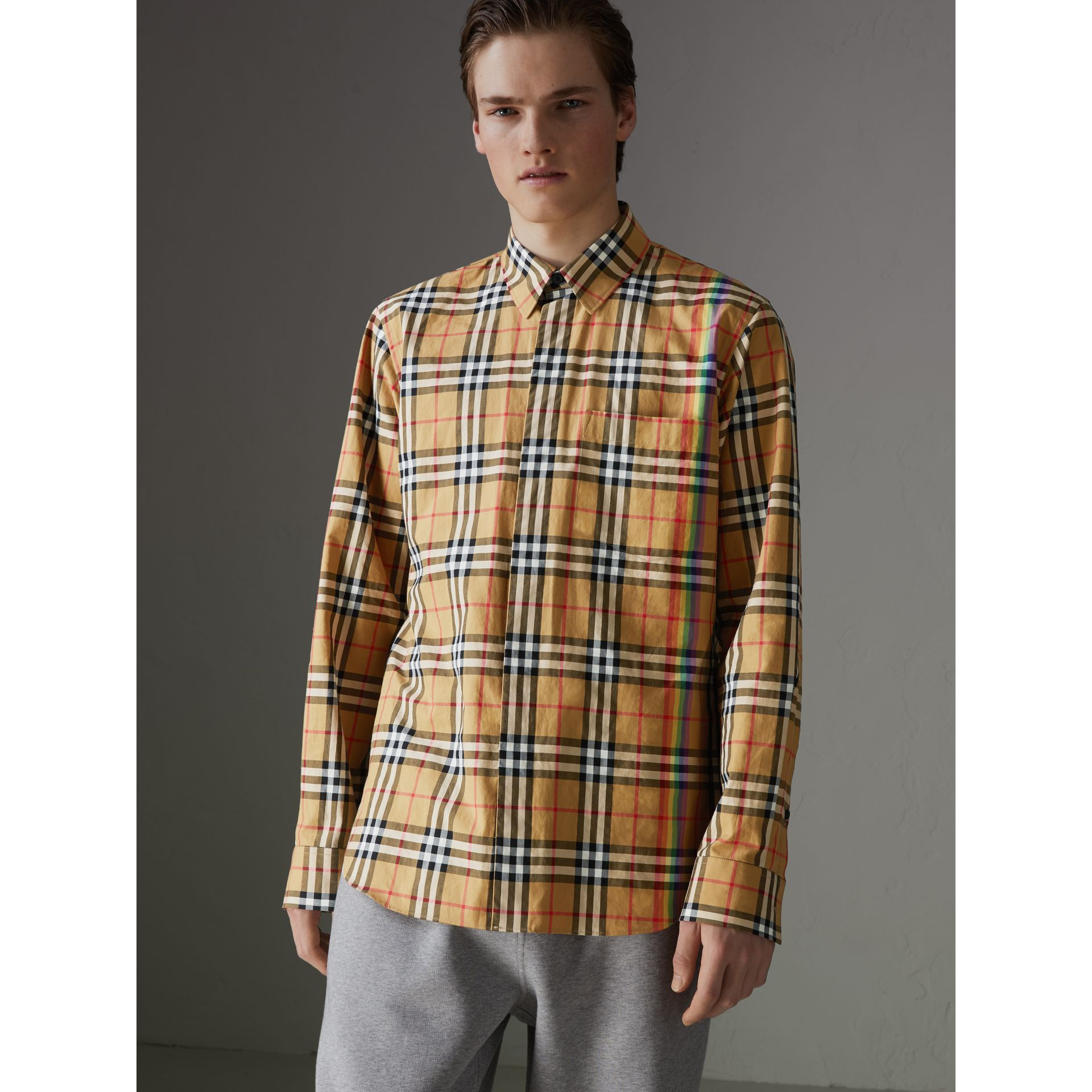 Rainbow Vintage Check Shirt in Antique Yellow - Men | Burberry United States - gallery image 4