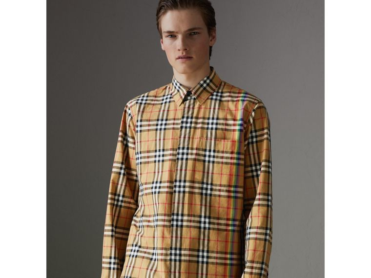 Rainbow Vintage Check Shirt in Antique Yellow - Men | Burberry United States - cell image 4
