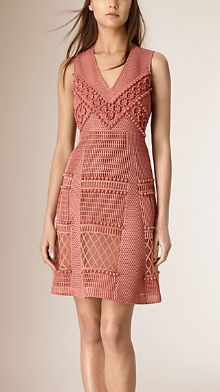 Panelled Lace and Mesh Dress