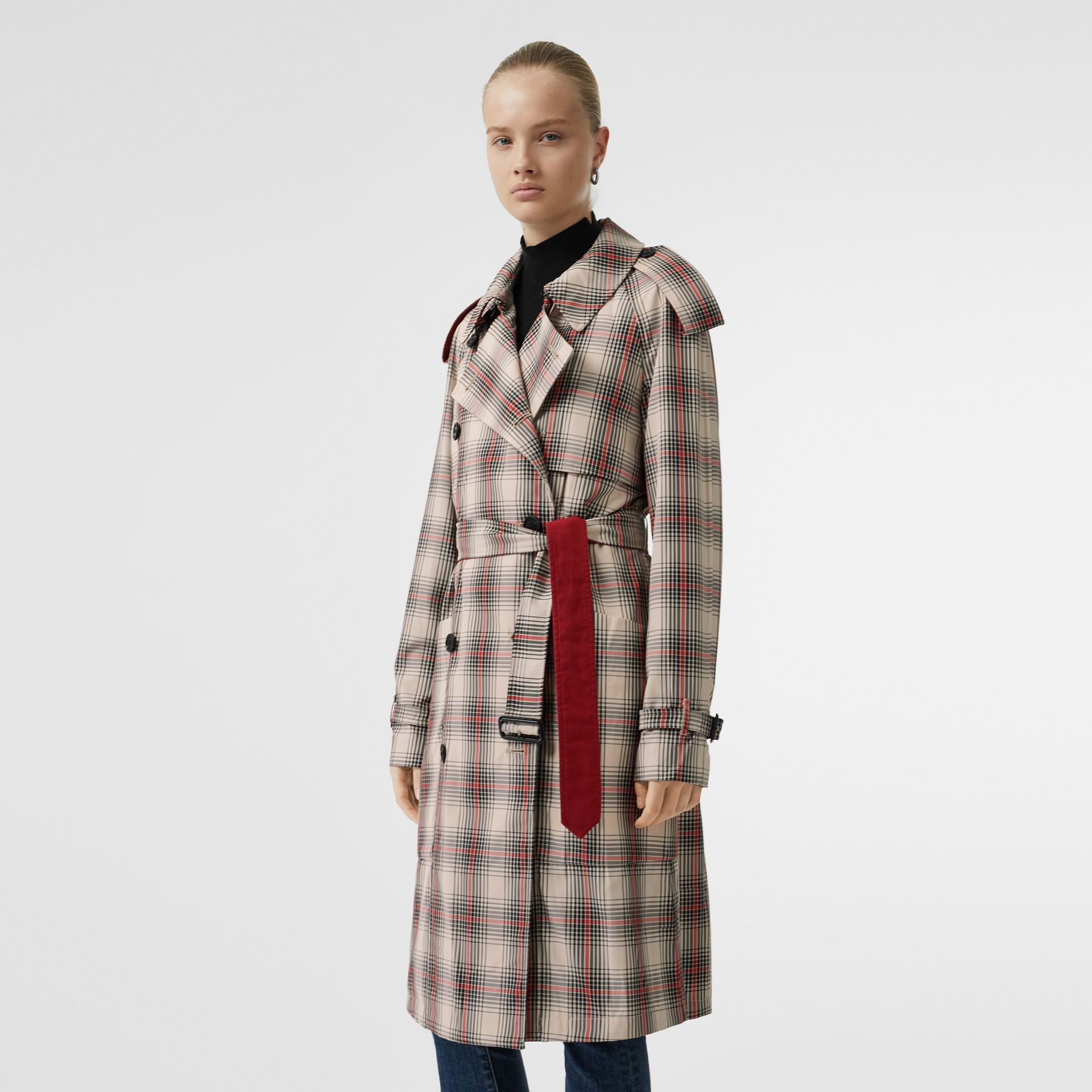 Lightweight Check Trench Coat in Light Nude - Women | Burberry - gallery image 6