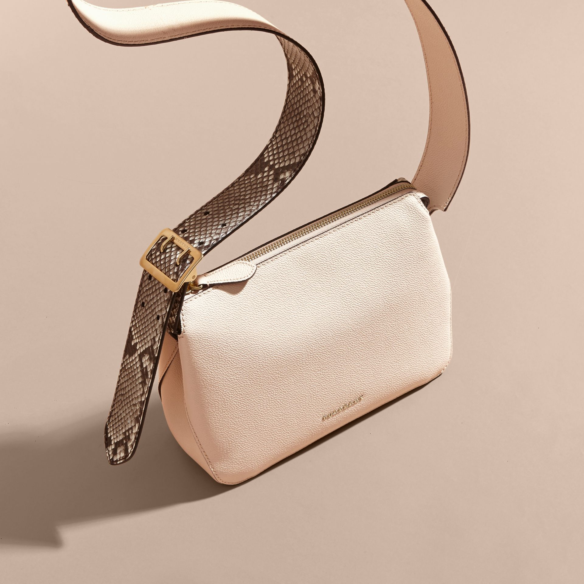 Limestone Python and Leather Crossbody Bag - gallery image 7