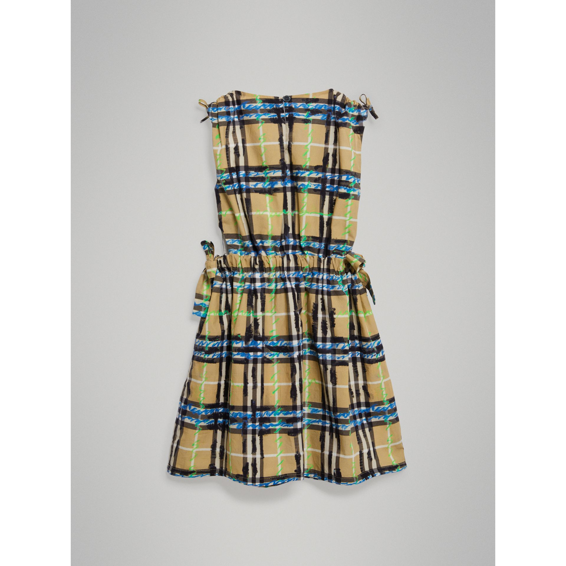 Tie-detail Scribble Check Cotton Dress in Bright Blue - Girl | Burberry - gallery image 3