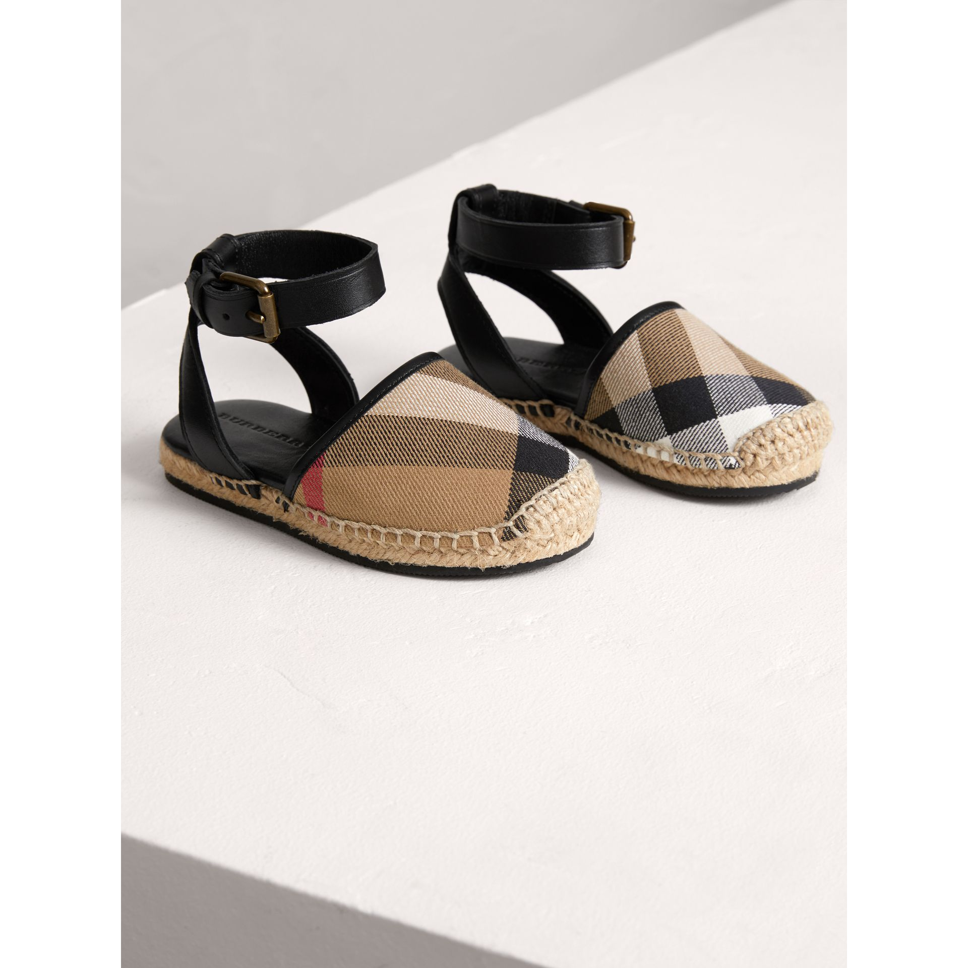 House Check and Leather Espadrille Sandals in Black | Burberry - gallery image 4