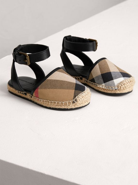 House Check and Leather Espadrille Sandals in Black | Burberry - cell image 3