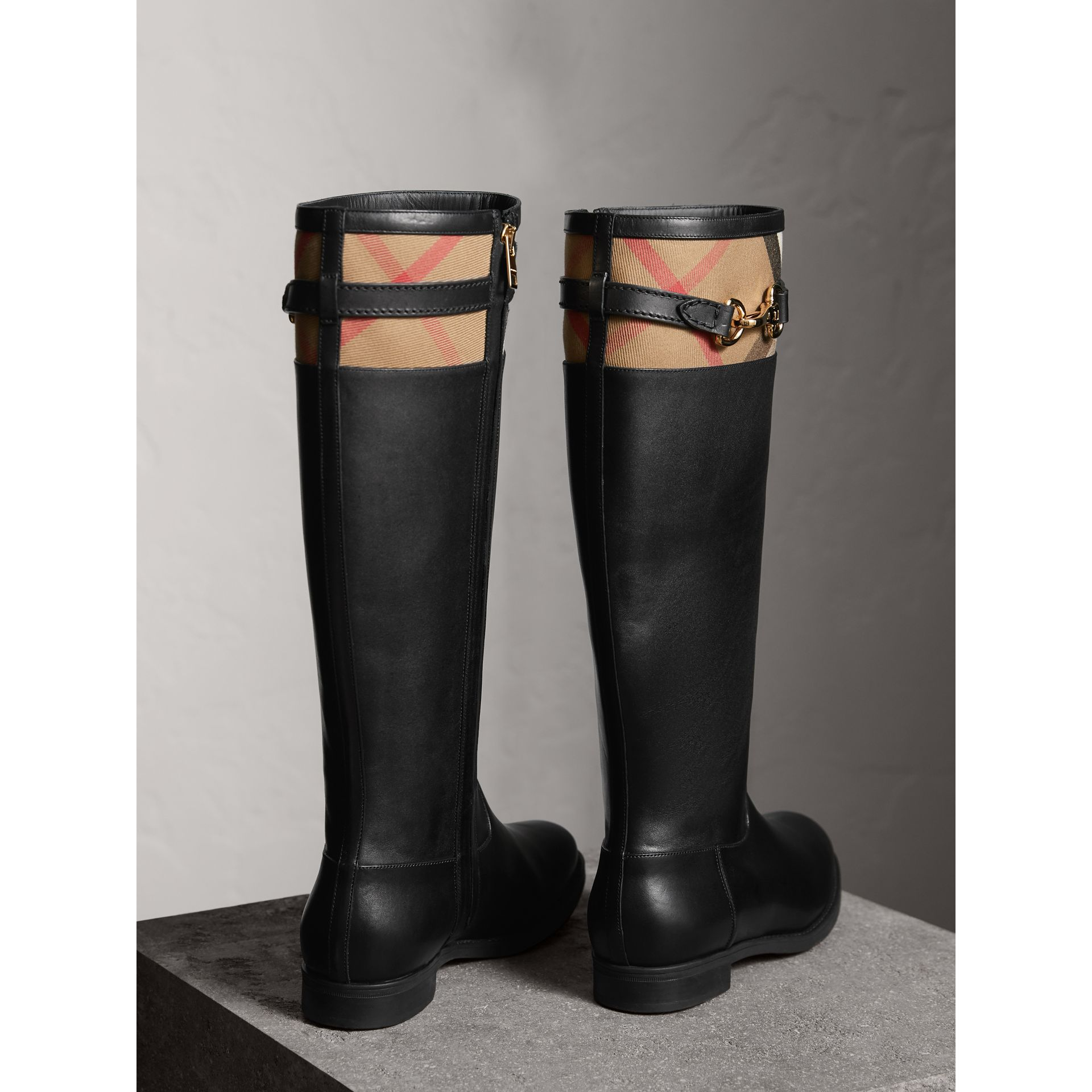 House Check Detail Riding Boots in Black - Women | Burberry - gallery image 3