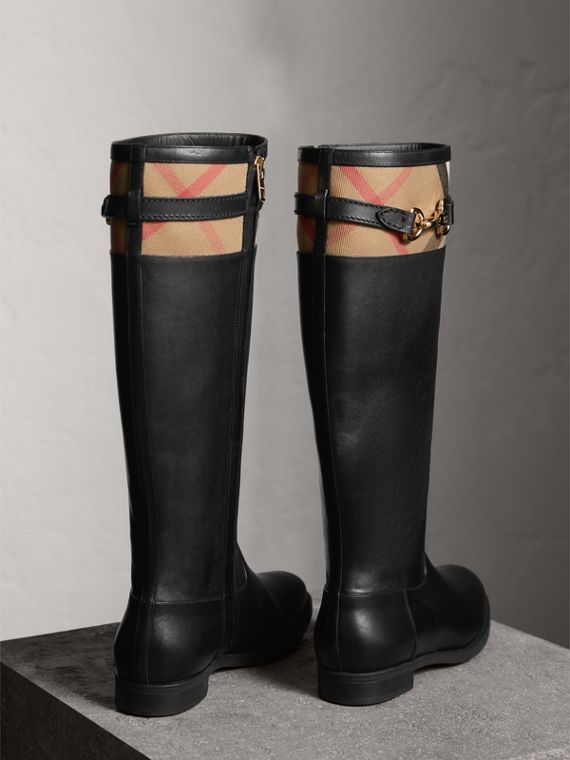 House Check Detail Riding Boots in Black - Women | Burberry United Kingdom - cell image 2