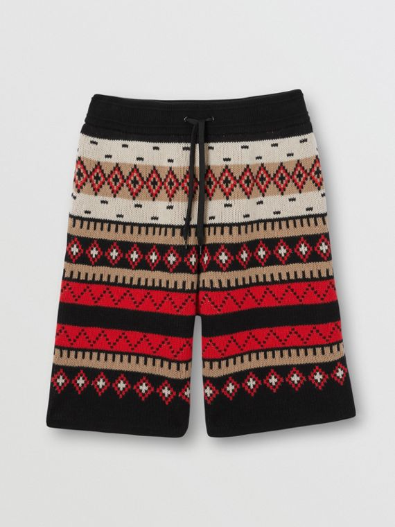Fair Isle Cashmere Shorts in Black