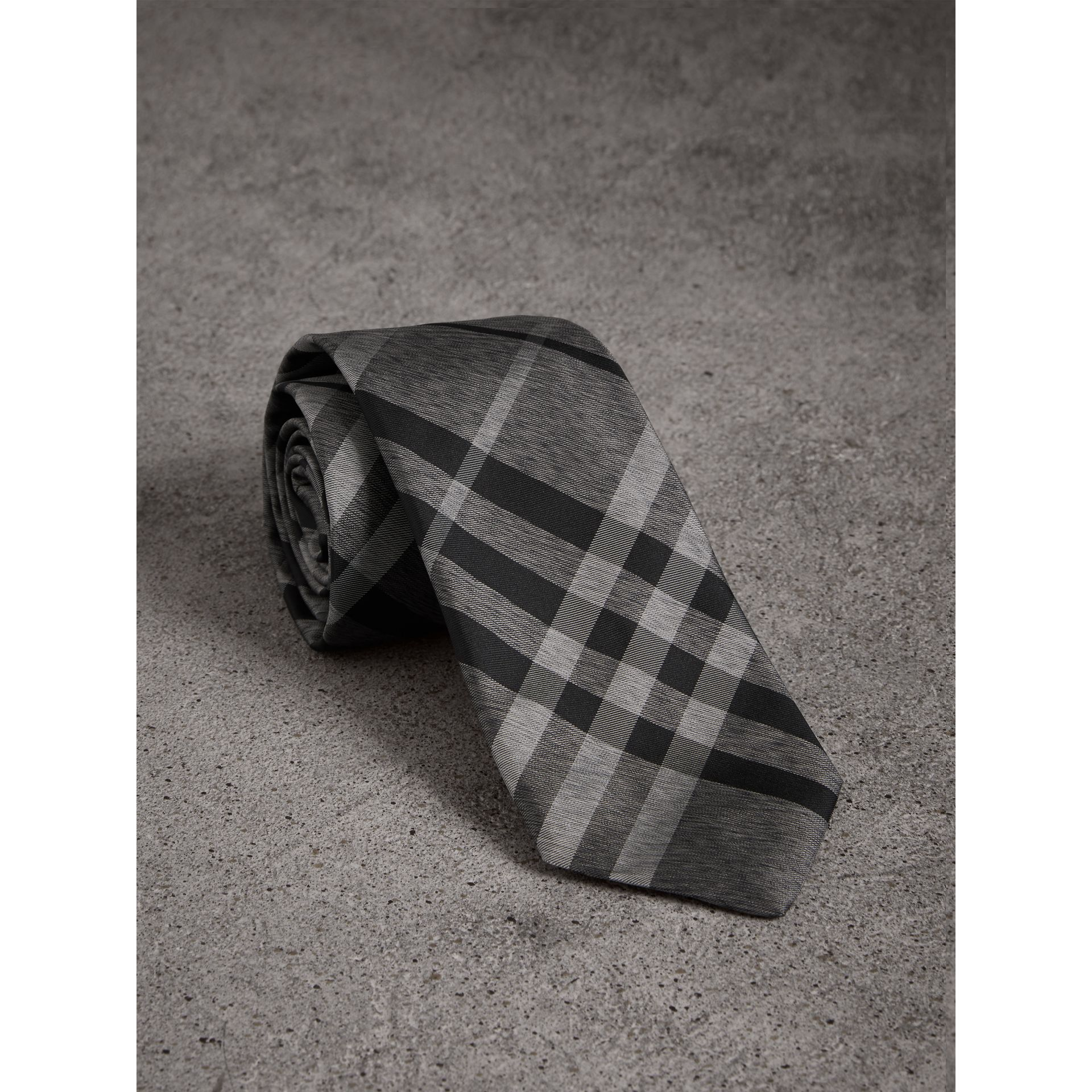 Modern Cut Check Silk Tie in Mineral Grey - Men | Burberry - gallery image 1