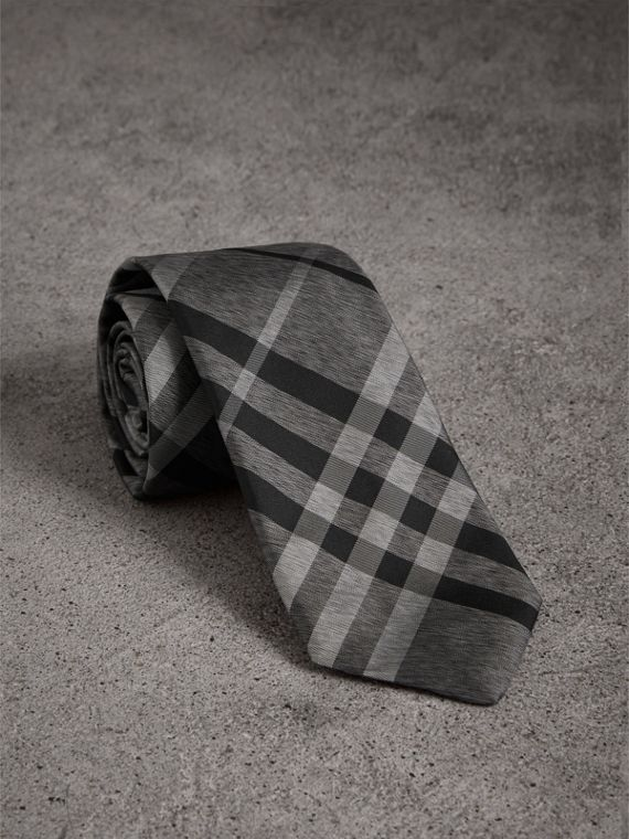 Modern Cut Check Silk Tie in Mineral Grey