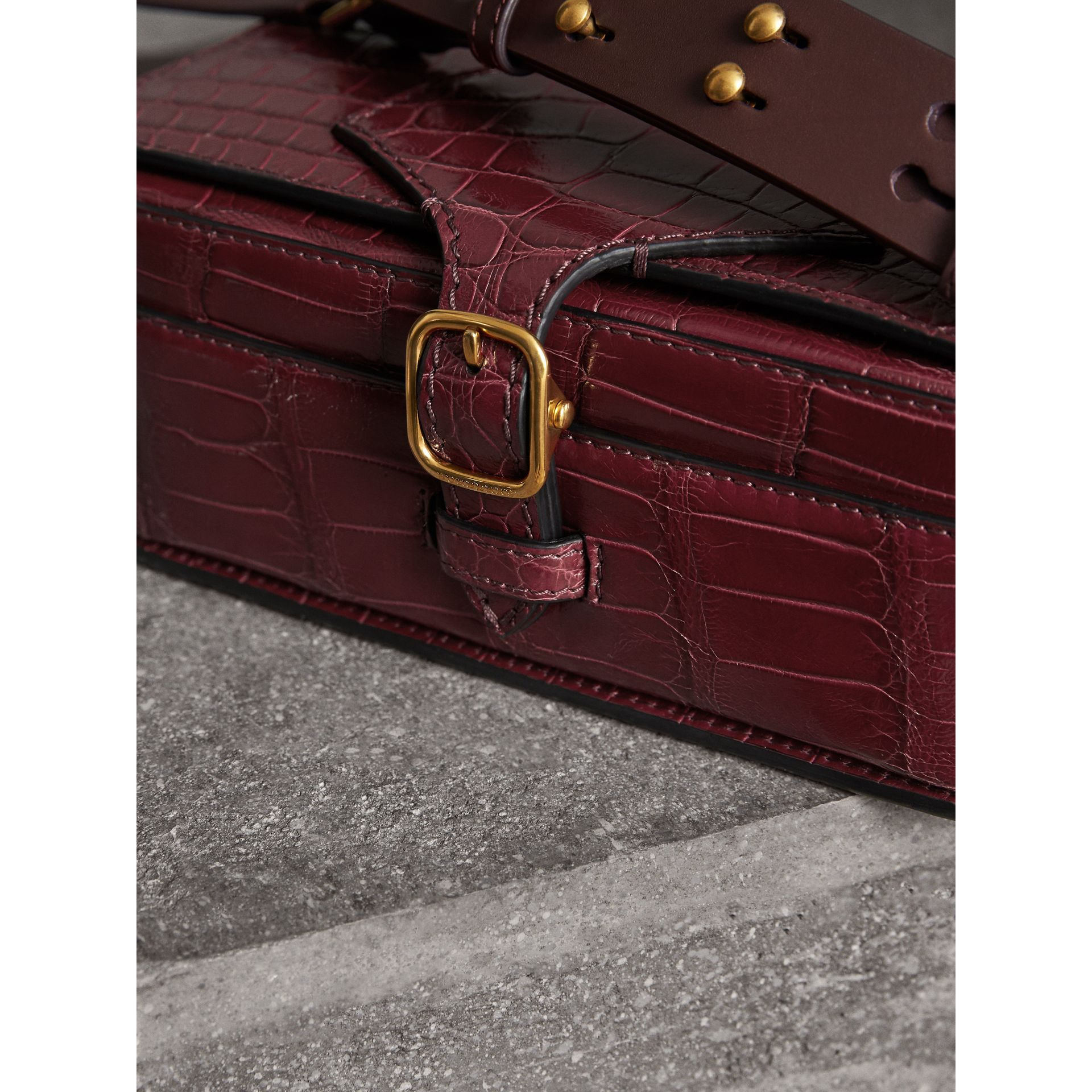 The Square Satchel in Alligator in Dark Plum - Women | Burberry United Kingdom - gallery image 1