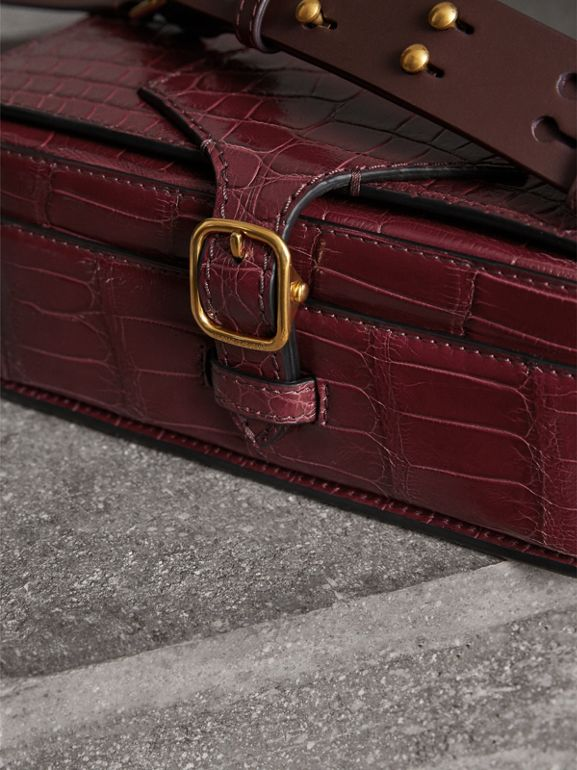 The Square Satchel in Alligator in Dark Plum - Women | Burberry - cell image 1