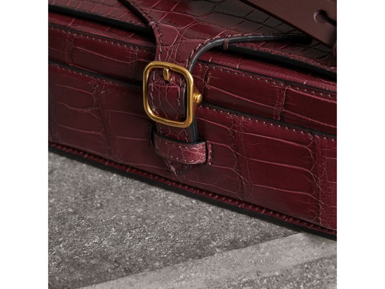 The Square Satchel in Alligator in Dark Plum - Women | Burberry United Kingdom - cell image 1
