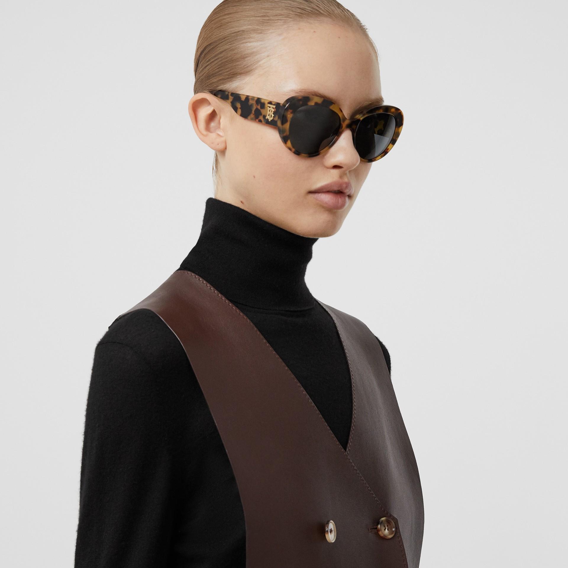Monogram Motif Cat-eye Frame Sunglasses in Bright Tortoiseshell - Women | Burberry United Kingdom - gallery image 2