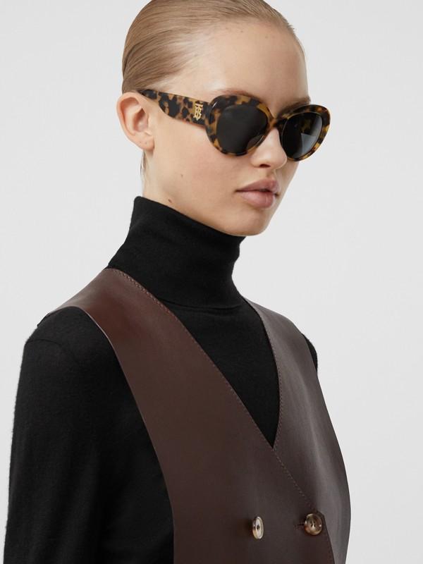 Monogram Motif Cat-eye Frame Sunglasses in Bright Tortoiseshell - Women | Burberry United Kingdom - cell image 2