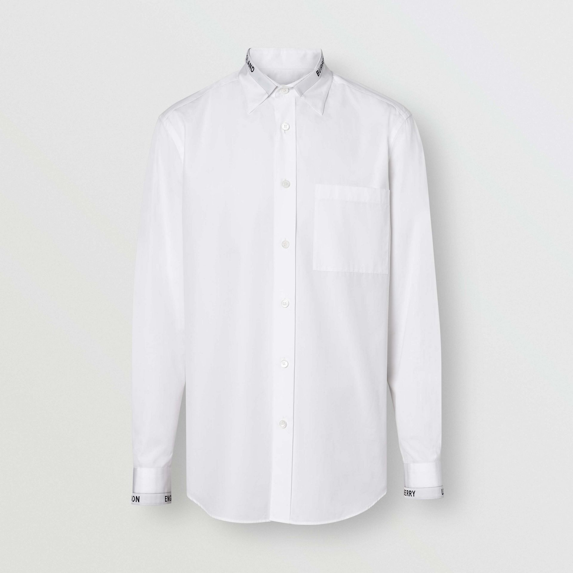 Logo Detail Cotton Poplin Shirt in White - Men | Burberry - gallery image 3