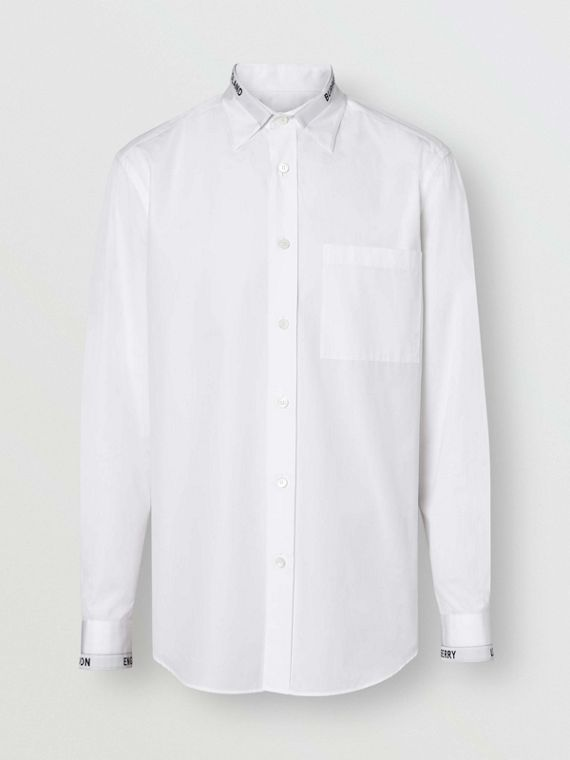 Logo Detail Cotton Poplin Shirt in White