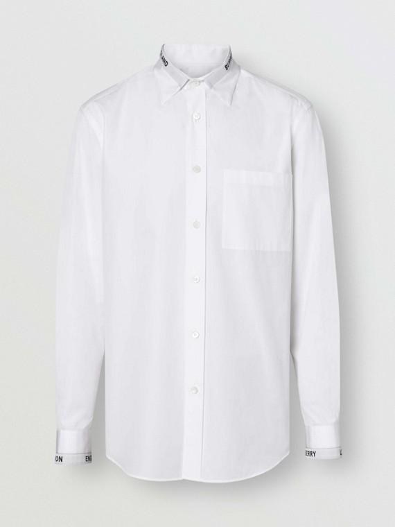 Camicia in popeline di cotone con dettaglio con logo (Bianco)