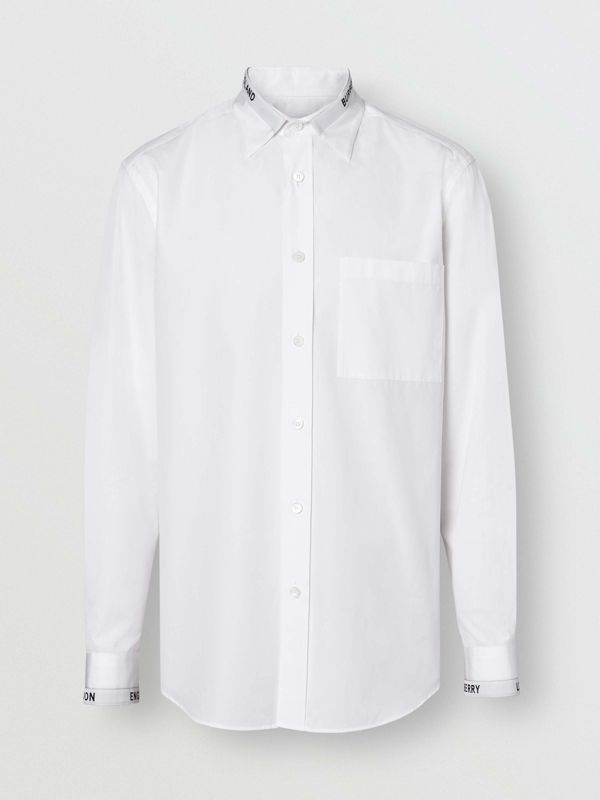 Logo Detail Cotton Poplin Shirt in White - Men | Burberry - cell image 3