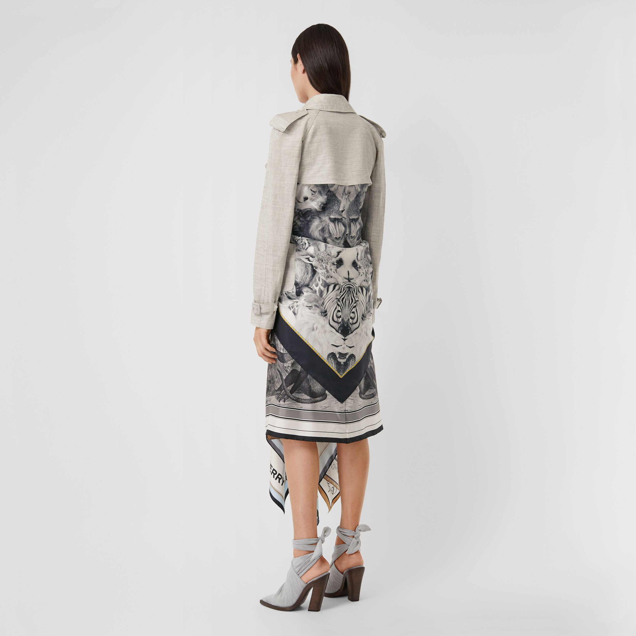 Animalia Print Linen Trench Dress in Grey Melange - Women | Burberry - 3