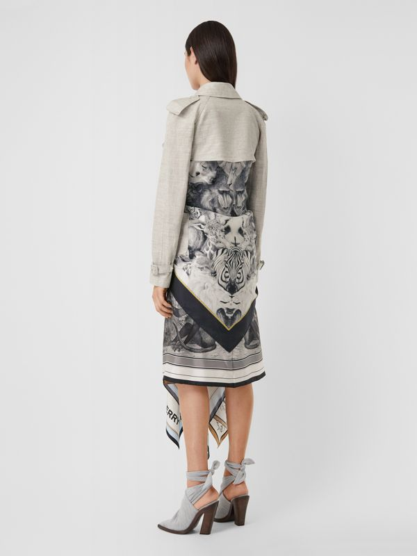 Animalia Print Linen Trench Dress in Grey Melange - Women | Burberry - cell image 2