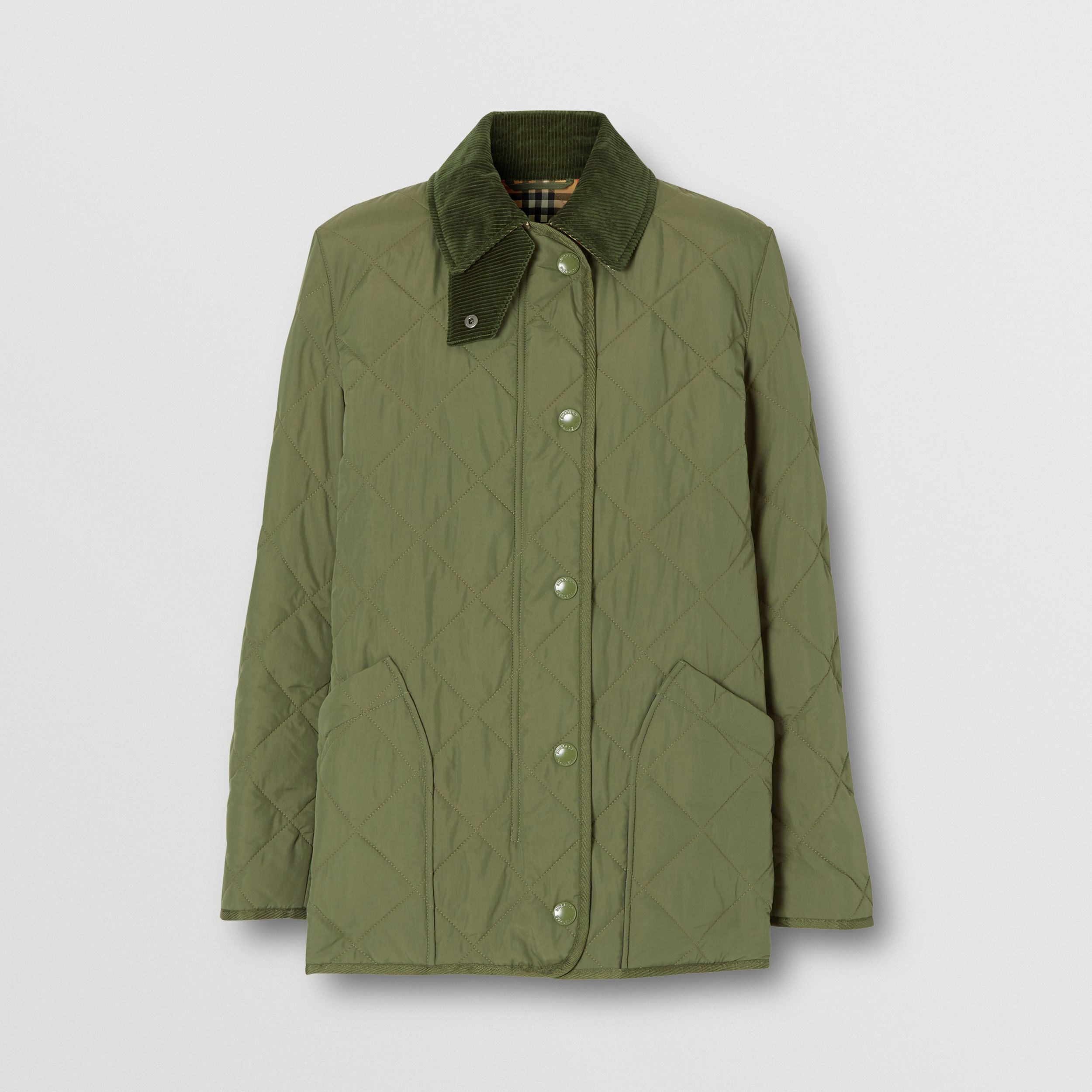 Diamond Quilted Thermoregulated Barn Jacket in Poplar Green - Women | Burberry - 4
