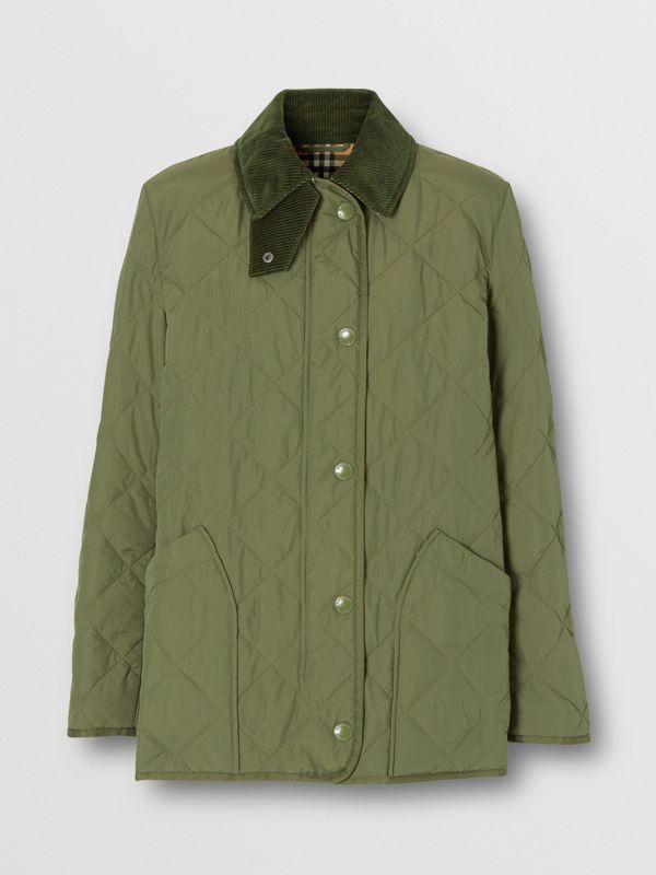 Diamond Quilted Thermoregulated Barn Jacket in Poplar Green - Women | Burberry - cell image 3