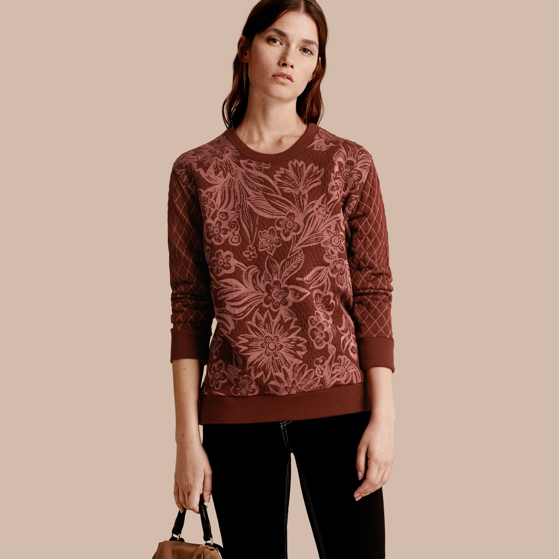 Garnet Floral Jacquard Cotton Wool Blend Sweater - gallery image 1