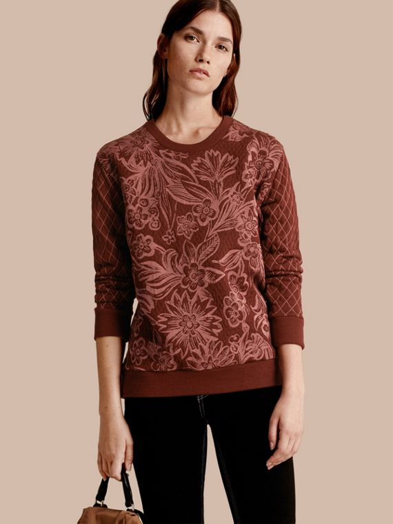 Floral Jacquard Cotton Wool Blend Sweater