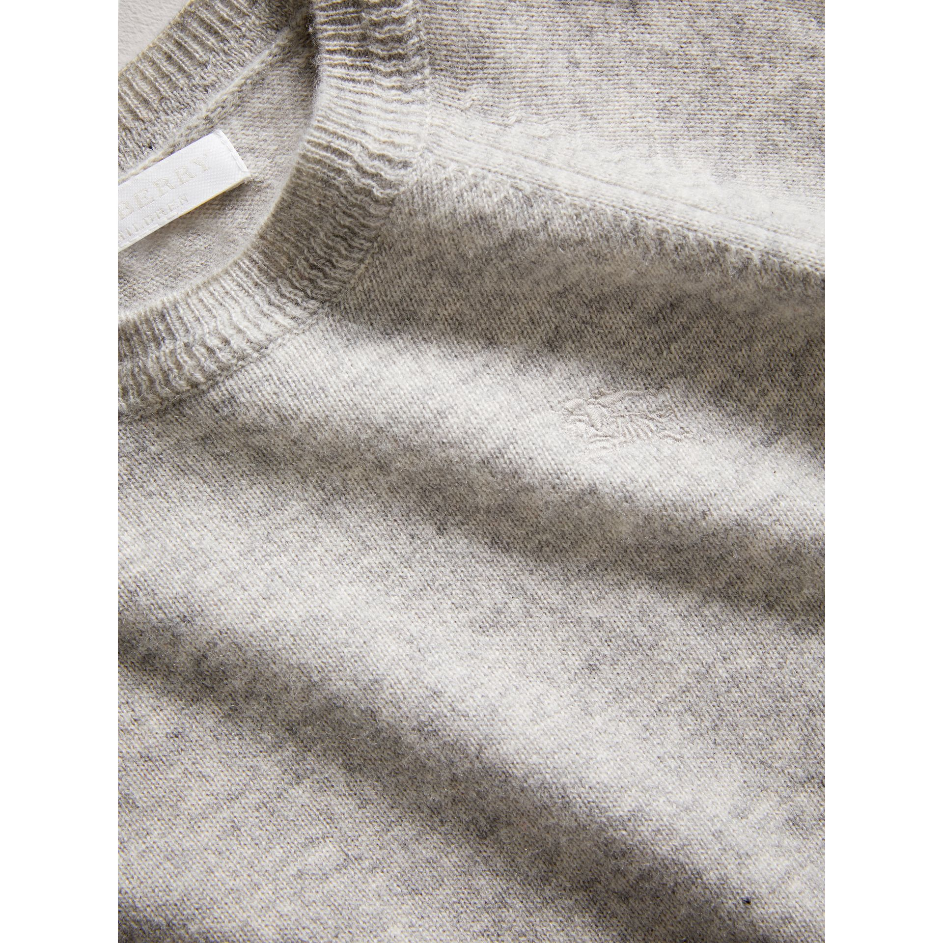 Check Detail Cashmere Sweater in Light Grey Melange | Burberry - gallery image 1
