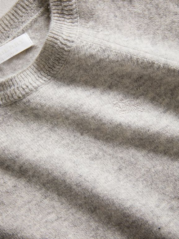 Check Detail Cashmere Sweater in Light Grey Melange | Burberry - cell image 1