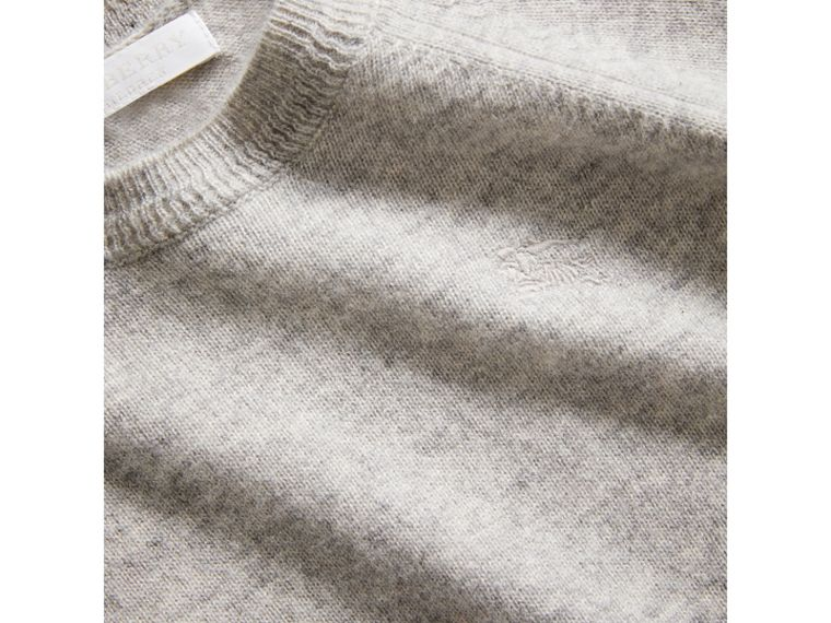 Check Detail Cashmere Sweater in Light Grey Melange - Girl | Burberry - cell image 1