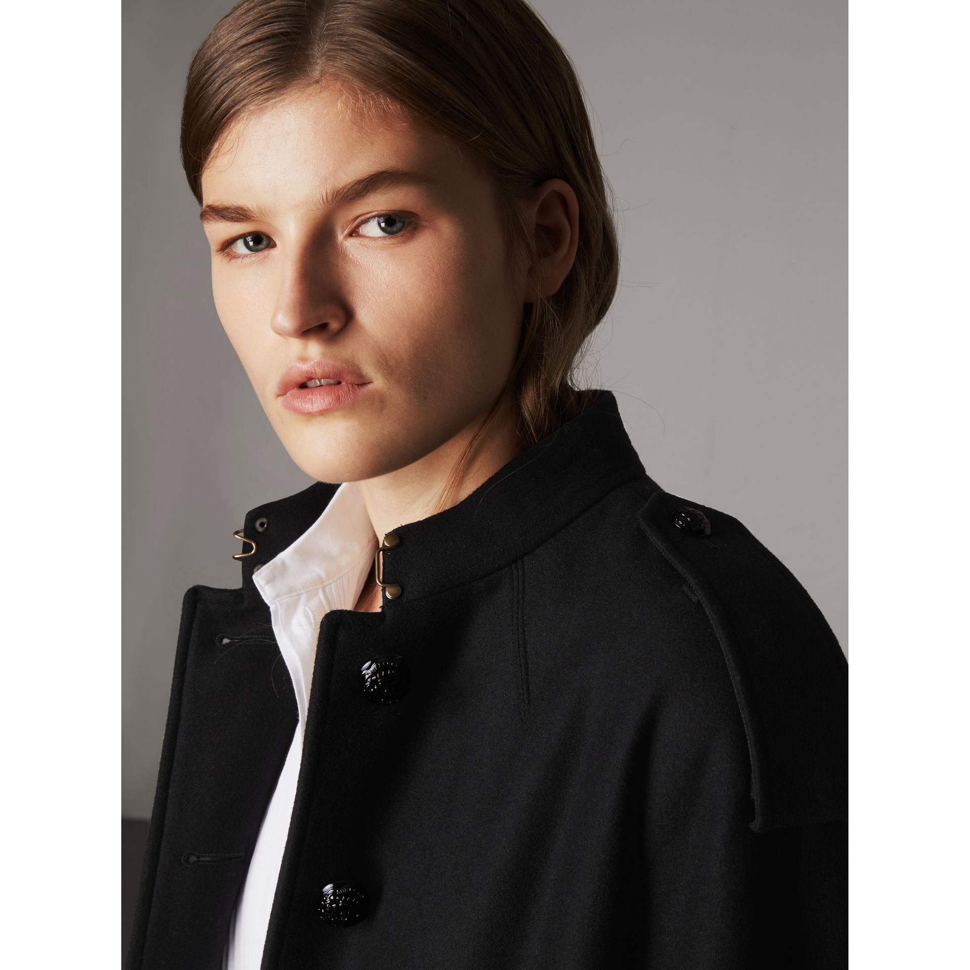 Collarless Wool Blend Coat in Black - Women | Burberry Canada - gallery image 5