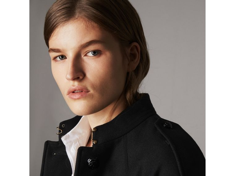 Collarless Wool Blend Coat in Black - Women | Burberry - cell image 4