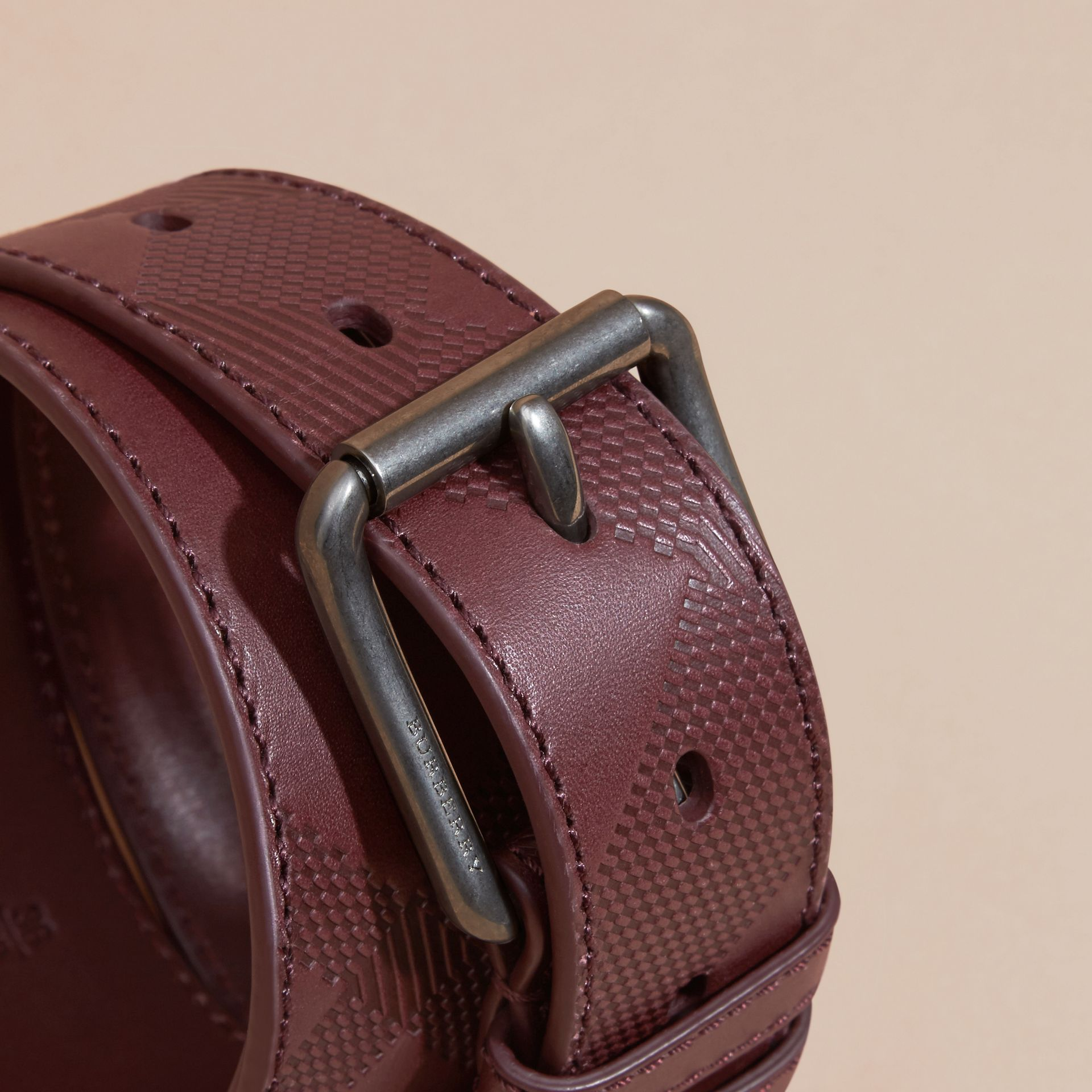 Claret Check-Embossed Leather Belt Claret - gallery image 2