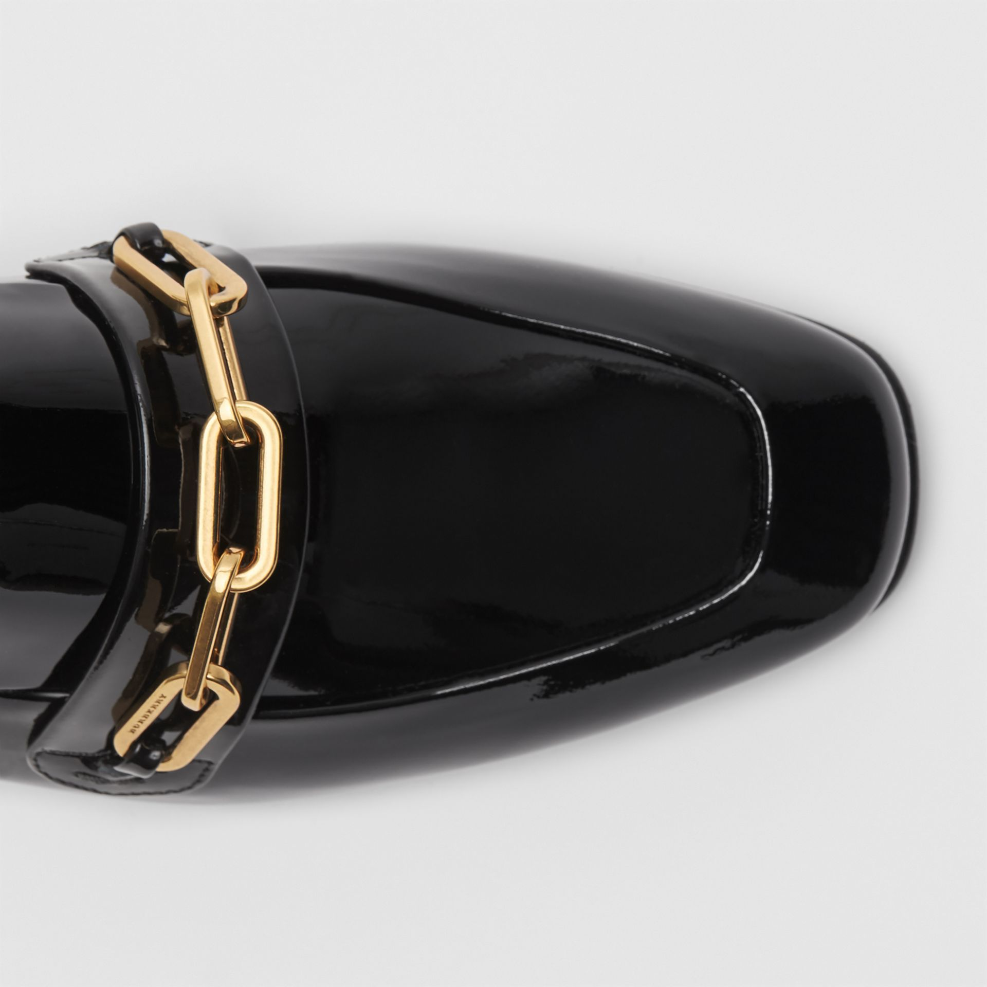Link Detail Patent Leather Loafers in Black - Women | Burberry - gallery image 1